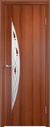 Дверь Verda ПО С6 Витраж Итальянский орех